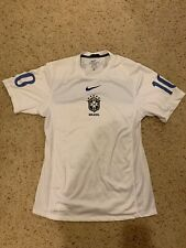 Nike Brasil Brazil 2010 World Cup Soccer Futbol Training Jersey M White Dri Fit