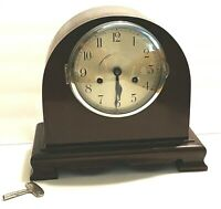 Tame Side Mantel Chime Clock and Key Engraved Vtg Hirst or Chelsea England