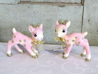 Wondershop Retro Pink & Gold Glitter Deer Fawn Set of 2 Christmas Ornaments NEW