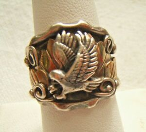 RICHARD BEGAY RB STERLING SILVER RING WITH EAGLE & DESIGN WORK