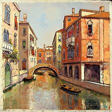 MARENGO Signed Vintage Mid Century cMid 1960's Oil Painting VENETIAN CANAL SCENE