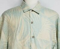 Tommy Bahama Mens 2XL Blue Cream Floral Palm Leaves Linen Button Hawaiian Shirt