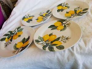 4 Royal Norfolk Yellow Lemons Citrus Dinner Plates Summer Citrus ~ New