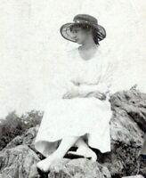 c.1910 Forlorn Pretty Woman Sitting on Rocks Vintage Photo