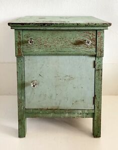 Vtg Antique Cabinet Table Wood Country Primitive Shabby Chic Green Glass Knobs