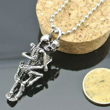 Men Tibet Silver Stainless Steel Skull Charm Infinity Pendant Necklace Chain CA