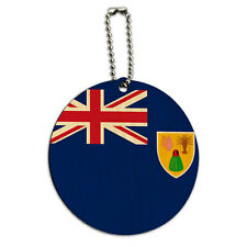 The Turks and Caicos Islands National Country Flag Round Wood ID Tag Luggage