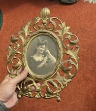 Rare Vintage Antique Metal Picture Frame & Photo Cast Iron Early Stand Scroll Nr