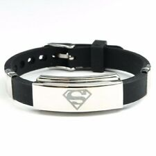 New Men's Black Superman Superhero Bracelet Wristband Fashion Stainless Steel