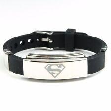 New Men's Black Superman Superhero Bracelet Wristband Fashion Stainless Steel