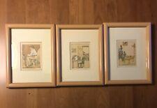 "Antique ""Peter Rabbit's Birthday"" Framed Lithographs Lot of Three Original"