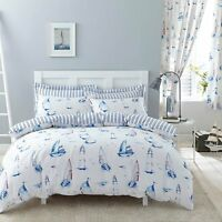 Polycotton Sail Boat Design Reversible Duvet Set or Curtains in White & Blue