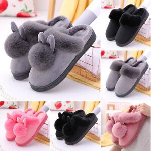 2021 New Women Winter Plush Bunny Rabbit Warm Slippers Slip On Home Flats Shoes