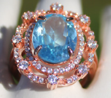 Blue Topaz 6.65ct Rose Gold Ring,Natural,Oval,VVSIF,Size 6,Resizable,Brand New,
