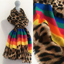 Ladies Large Leopard Print Scarf Animal Rainbow Striped Bright Shawl Wrap Long