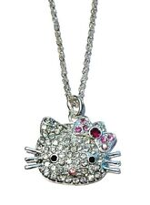 Silver Pink Bow Crystal Diamante Kitty Cat Pendant Necklace Chain Women Girls UK