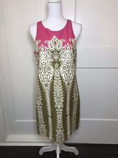 Tibi Paisley Shift dress Pink Green Career Cocktail Size 10