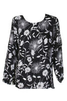 Vince Camuto Black White Floral Printed Split-Sleeve  Blouse XS