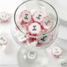wedding Mr & Mrs pink candy buffet rock wrapped sweets x 25