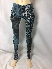 Bjd-Msd 1/4 Stretch Jersey Knit Pants~Black, Blue & White Print~ Never Used!