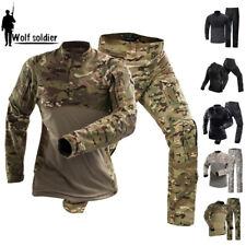 Tactical Military Mens Combat T-shirt Cargo Pants Army BDU Uniform Camouflage