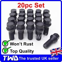 20x BLACK ALLOY WHEEL BOLTS FOR BMW 3-SERIES (2011+) F30 F31 M14x1.25 NUT -K50