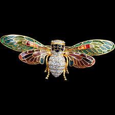 "NEW Joan Rivers CICADA BEE PIN Brooch 4"" Plique A Jour Wings Gold Rhinestone NIP"