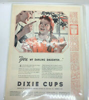 """VTG Print Ad 2 sided Dixie Cups Daughter Ray-O-Vac Battery Leak Proof 10""""x14"""""""