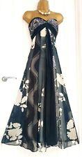 Monsoon talla 16 Floral Vestido Maxi Metálico Mezcla de Seda ocasión Verano Hermosa en muy buena condición