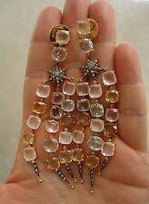 $15000 H STERN 18K MOONLIGHT AQUAMARINE QUARTZ DIAMOND CHANDELIER EARRINGS