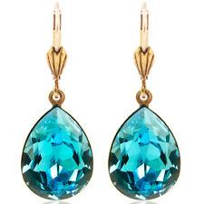 Ohrringe mit Kristallen von Swarovski® Türkis Gold Tropfen NOBEL SCHMUCK