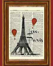 Vintage Eiffel Tower Dictionary Art Print Poster Love Paris Hot Air Balloon