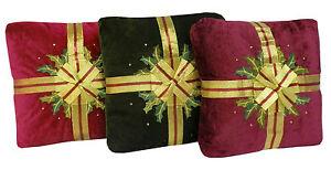 Velvet & Ribbon Holly Christmas Xmas Decorative Filled Cushion - 3 Colours