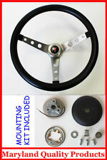 "GTO Firebird LeMans Bonneville Grant Black Steering Wheel 15"" Round holes"