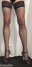 Black 15 Denier Satin Sheen Medium Size Lace Top Hold Up Stockings High Quality