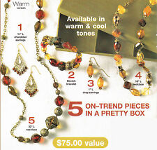 Avon Fashion To Go 5pc Set & Jewelry Box Warm 2 Necklace Bracelet 2 Earrings NIB