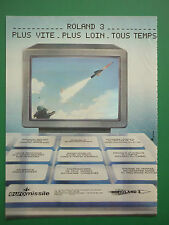 6/1985 PUB EUROMISSILE MISSILE AIR SOL ROLAND 3 AEROSPATIALE MBB FRENCH AD