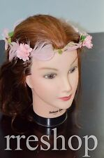 Pink Flower and Feather with Green Leaves Festival Design Head Band
