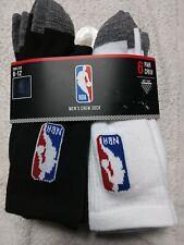 Mens Net Dry OFFICIAL  NBA Logo Athlete 6 Pack NBA Crew Socks Shoe Size 6-12.