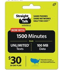 Straight Talk $30 To Your Phone 1500  Minutes Unlimited Texts