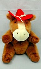 """Brown Horse Cowboy Hat Red White Plump Plush 12"""" Top Bloom USA Toy"""