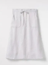536d0d4be251 white stuff portia plain linen skirt white womens knee length size: 10 *174