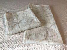 "Two  West Elm Linen Cotton Curtains Panels 48""x96"" Drapes Cream Gold Unlined"