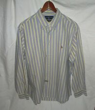 RALPH LAUREN Striped Chambray Classic Fit Pony Shirt Mens 16.5 Top Blue Yellow