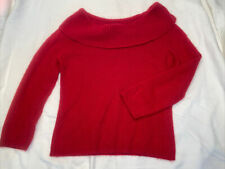 Apostrophe Size Small Angora Wool Crimson Red Sweater Cowl Neck 3/4 Sleeve Euc