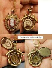 3 Sided Cameo Mourning Hair Locket 1880 Cameo Antique Soldier Pic Woven Hair Nec