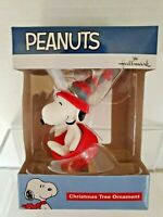Hallmark Snoopy Sledding In Dog Dish Christmas Tree Ornament 2019 Red Green NEW