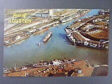 Port Of Houston Texas TX Aerial View Ships Vintage Color Chrome Postcard 1950s