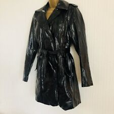 NEW LOOK Black Wet Look Shiny Double Breasted Belted Mac Trench Coat Size 10