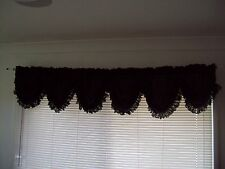 Black Austrian Balloon  Curtain Window Valance with  Lace 3.5m x40cm